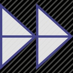 double, point, right, sleek icon