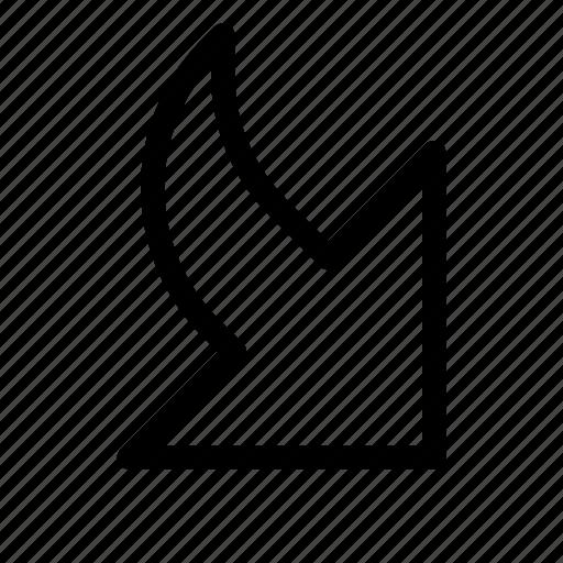 arrow, bottom, corner, direction, minimize, pointer, right icon