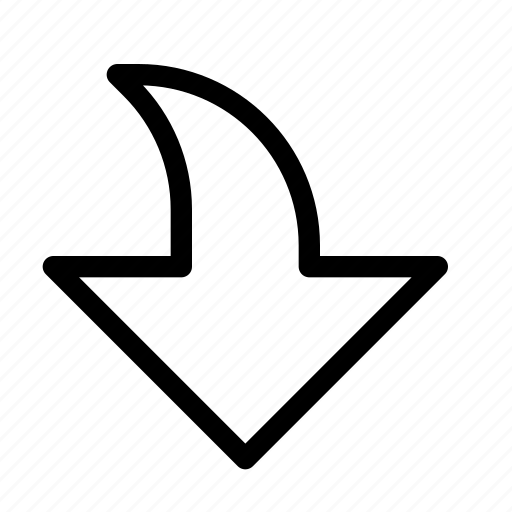 arrow, bottom, down, download, pointer, receive, save icon