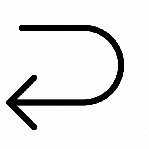 left, receive, turn, u icon