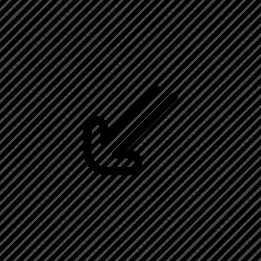 arrow, down, left, straight icon
