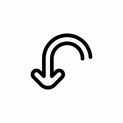 arrow, curve, curved, down, spin icon