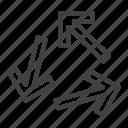 arrows, direction, three, transfer