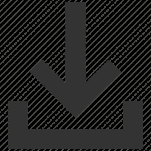 archive, down arrow, download, get, inbox, put, storage icon