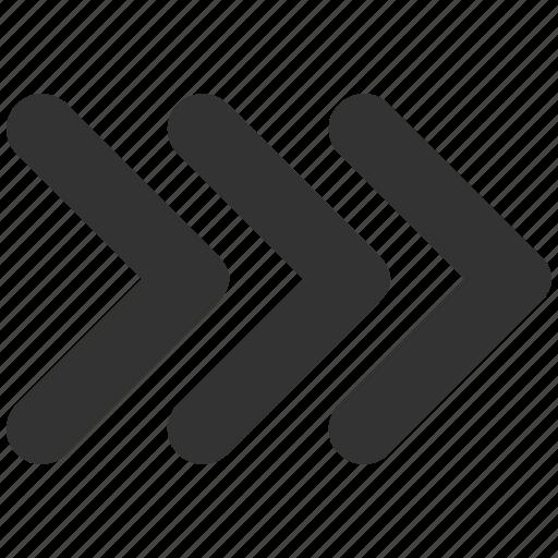 arrow, arrowhead, direction, move, next, shift right, triple icon
