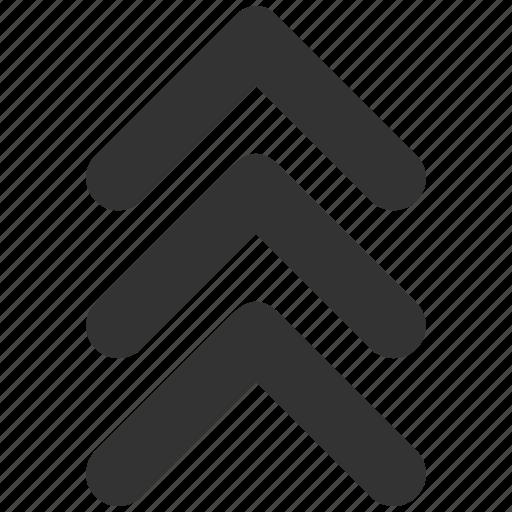 arrow, arrowhead, forward, move, shift up, triple, upload icon