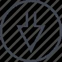 arrow, down, navigation, point, ui, ux icon