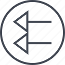 arrow, back, design, exit, point, ui, ux icon