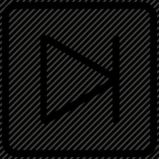 continue, forward, interface, next, square icon