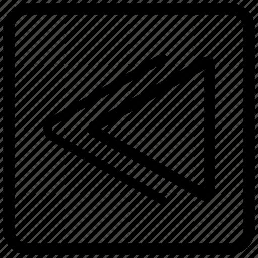 command, instruction, rewind, square, track icon
