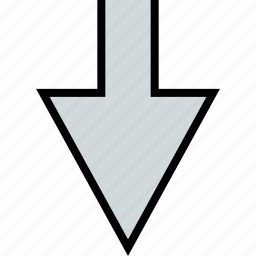 arrow, direction, down, point, thick icon