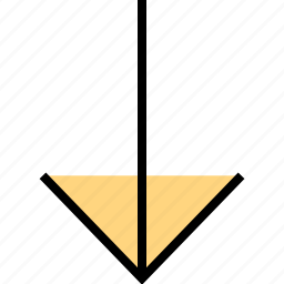 arrow, direction, down, point, thin icon