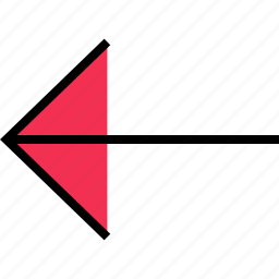 arrow, direction, left, point, thin icon