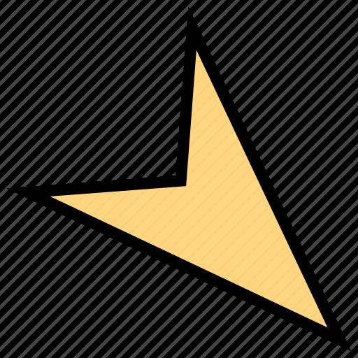 arrow, direction, down, pointer, sharp icon