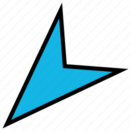 arrow, direction, down, left, pointer, sharp icon