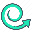 arrow, spiral, twist icon
