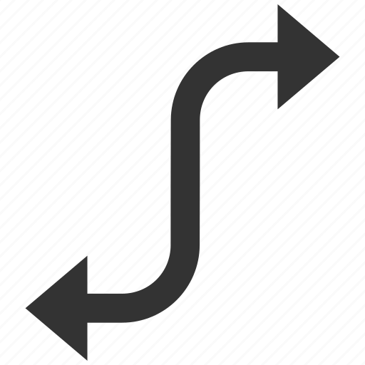 arrow, bend, direction, motion, navigation, opposite, turn icon