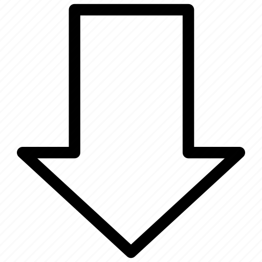 arrow, bottom, direction, down, download, guide icon