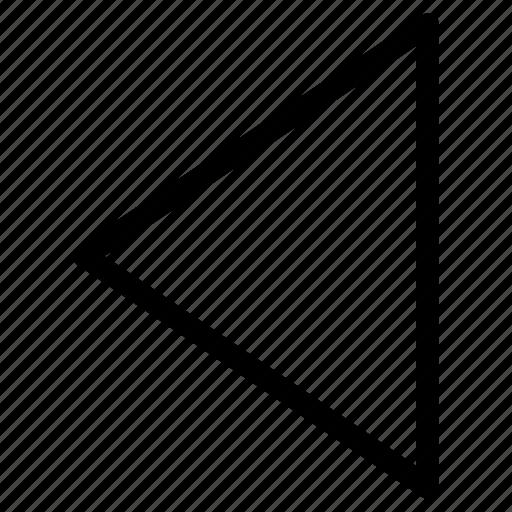 arrow, command, left, media, movment, triangle icon