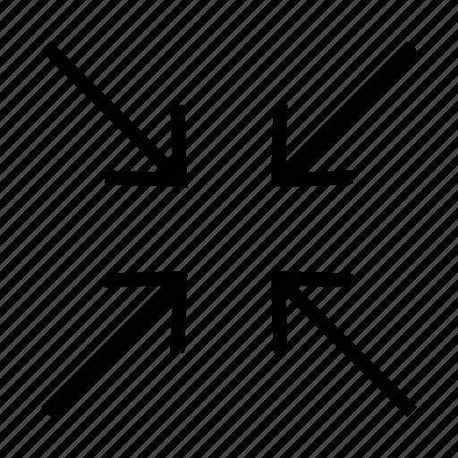 arrow, arrows, minimize icon