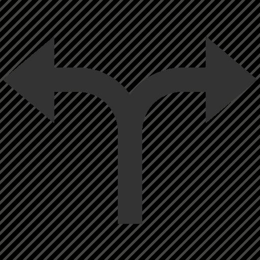 arrow, arrows, bifurcation, divide, left, navigation, right icon