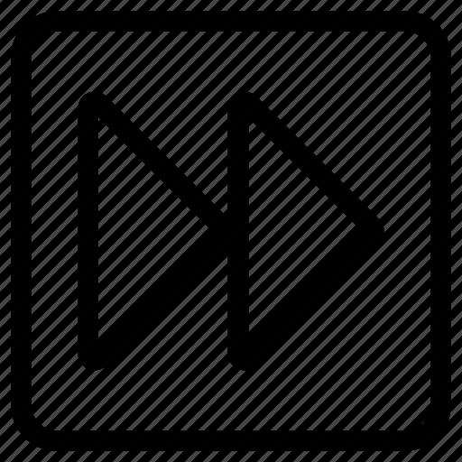 arrow, fast, forward, instruction, right, square icon