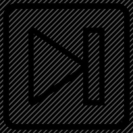 arrow, forward, jump, next, right, square icon