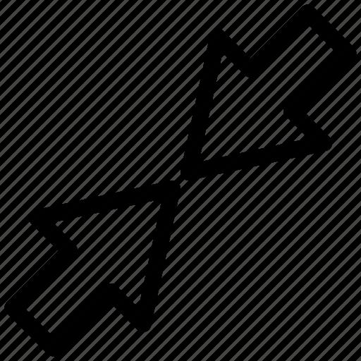 arrow, decrease, minimum, reduce, resize, small icon