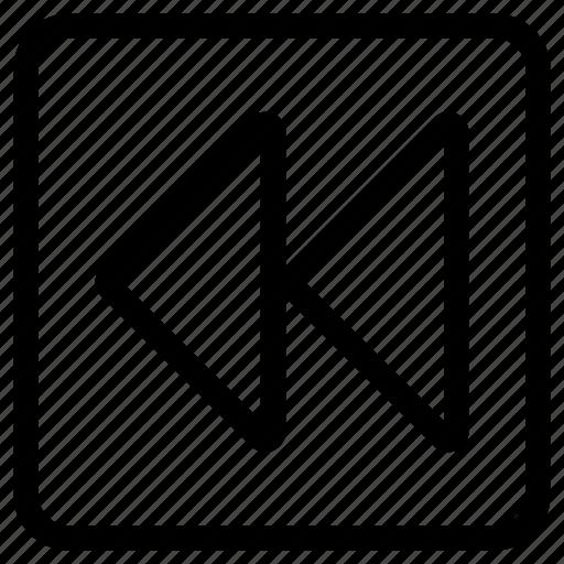 arrow, back, instruction, previous, rewind, square icon