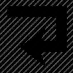 arrow, back, direction, sign, turn, u turn icon