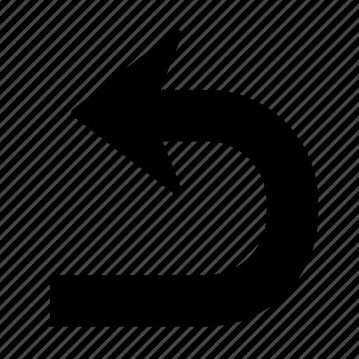 arrow, direction, left, turn, u turn, u-turn icon