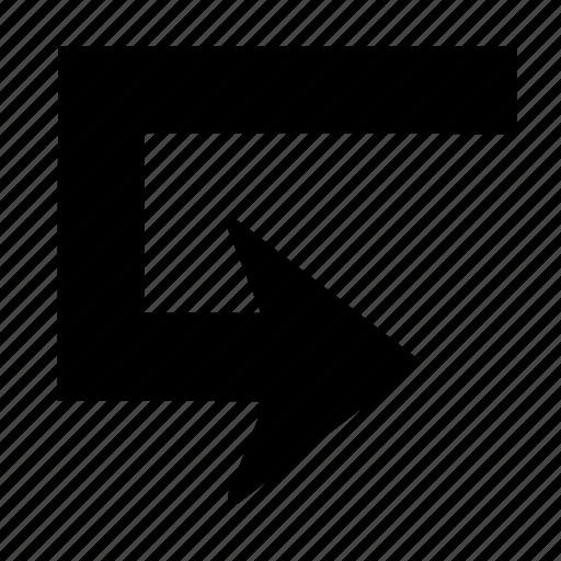 arrow, back, direction, right, turn, u-turn icon