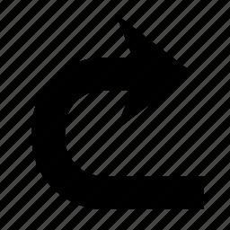 arrow, direction, forward, right, turn, u turn, u-turn icon