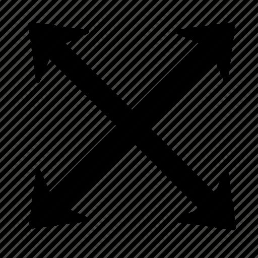 arrow, corners, cross, direction, full, handler, move icon