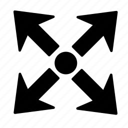 arrow, dot, expand icon
