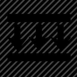 arrow, box, direction, down, go, move, three icon