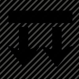 arrow, box, direction, down, go, move, two icon