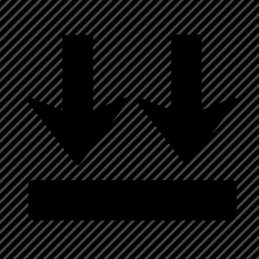 arrow, box, direction, down, go icon
