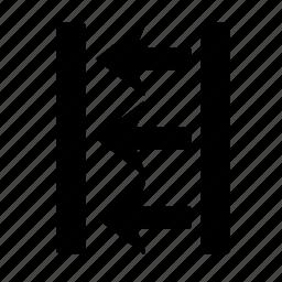 arrow, box, direction, go, left, location, move, three icon