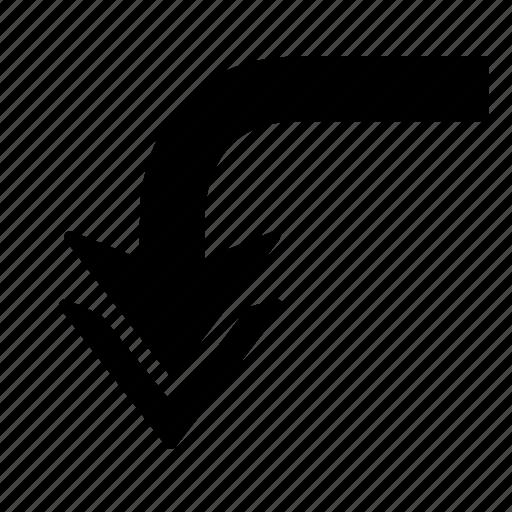 arrow, back, direction, down, turn, u turn, u-turn icon