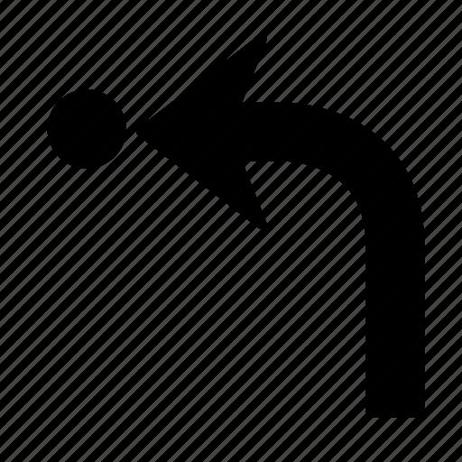 arrow, back, direction, dot, go, left, turn icon