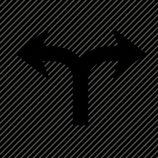 arrow, direction, go, left, right, split, way icon
