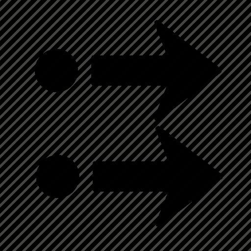 arrow, dot, go, right icon