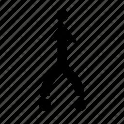 arrow, dot, join, top icon