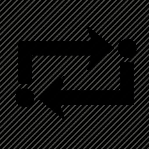 arrow, dot, repeat icon