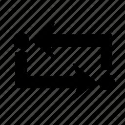 arrow, exchange, pointer, repeat, replace, swap, way icon
