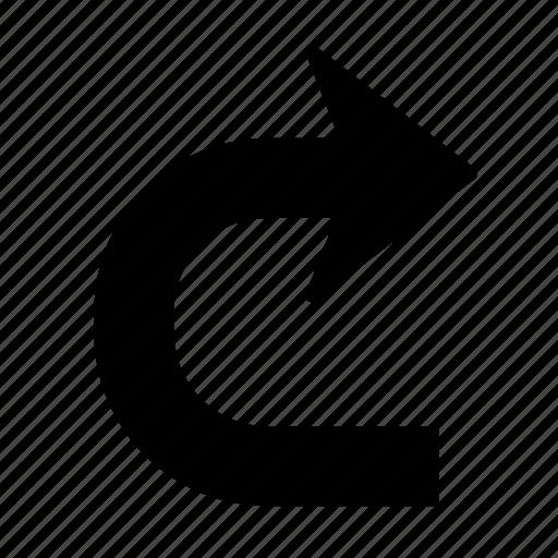 arrow, direction, next, return, right, turn, u-turn icon