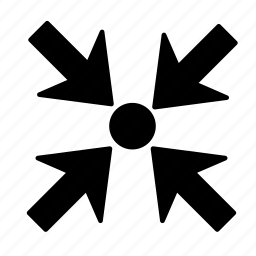 arrow, dot, shrink icon