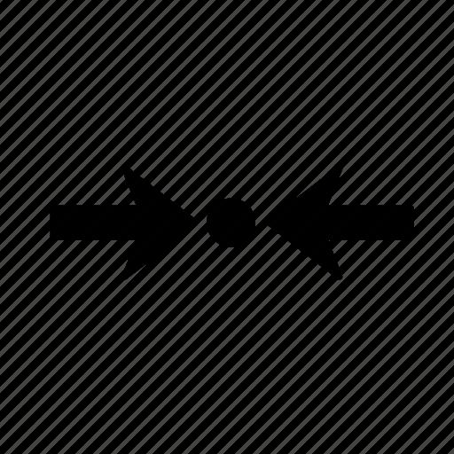 arrow, clash, collision, conflict, inconsistency, left, right icon