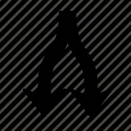 arrow, direction, divide, down, navigation, splinter icon
